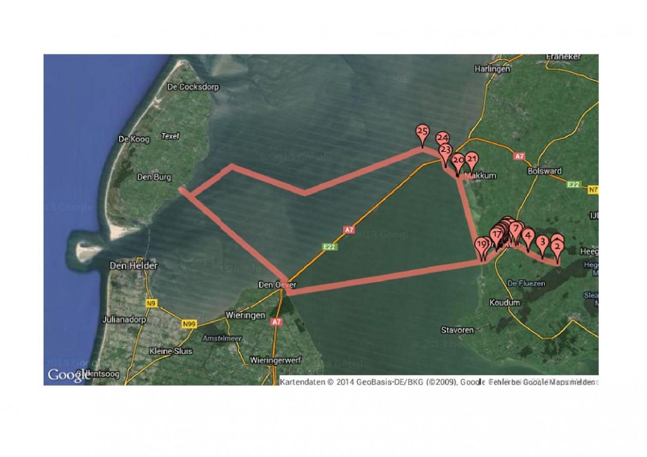 Route Gaastmeer, Workum, Makkum, Kornwerderzand, Oudeschild, Den Oever, Hindeloopen, Workum, Gaastmeer